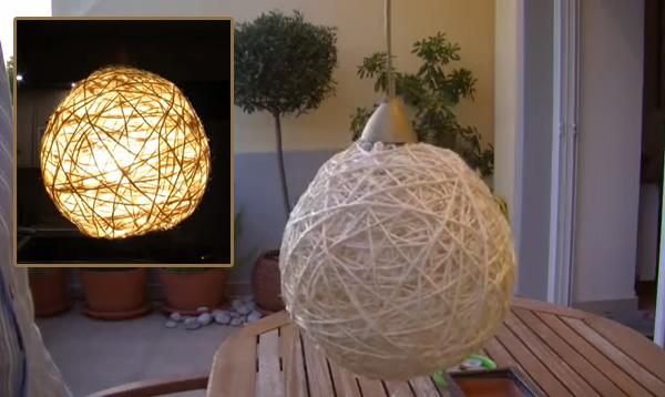 DIY φωτιστικό από σπάγκο - 7