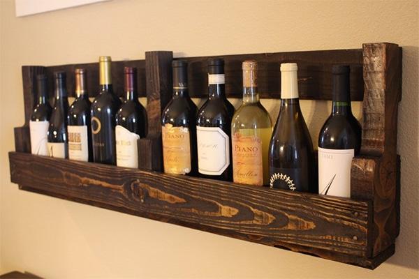 Επιτοίχια θήκη για κρασιά από παλέτα 1