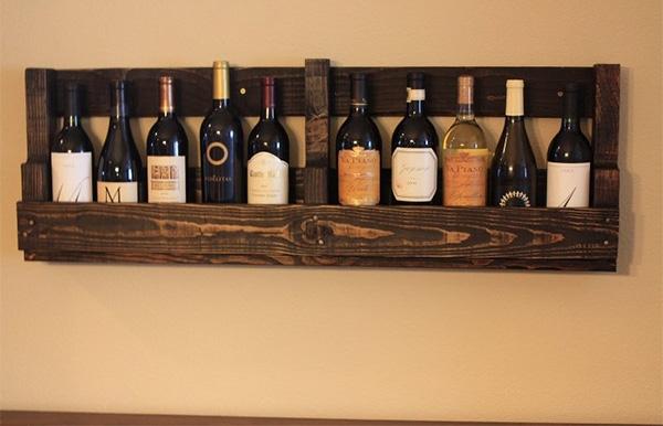 Επιτοίχια θήκη για κρασιά από παλέτα 5