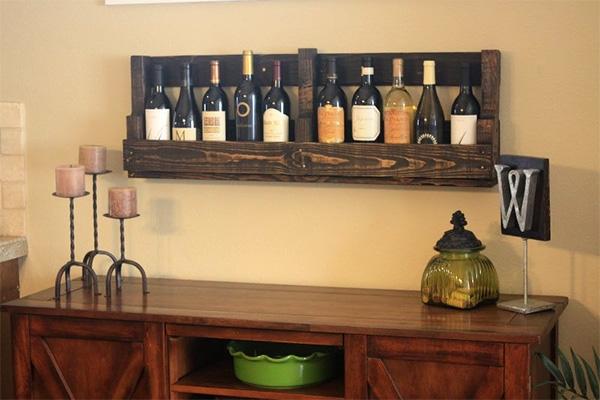 Επιτοίχια θήκη για κρασιά από παλέτα 6