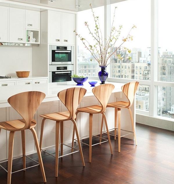 15 Ideas For Wooden Base Stools In Kitchen Bar Decor: Σκαμπό στην κουζίνα