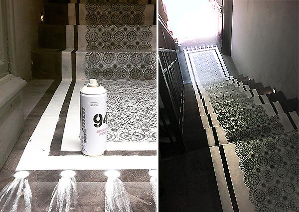 Διακόσμηση με stencil στο δάπεδο
